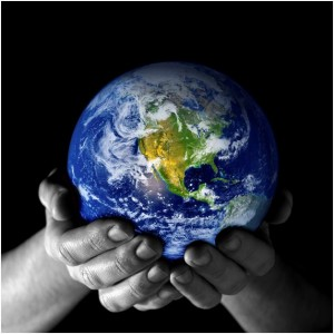 planet earth and hands photo