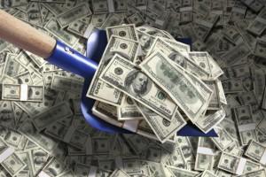 shoveling cash